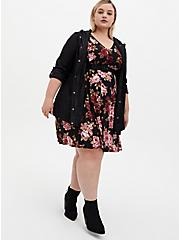 Black Floral Studio Knit Belted Skater Dress, FLORAL - BLACK, alternate
