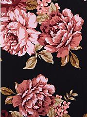 Plus Size Black Floral Studio Knit Belted Skater Dress, FLORAL - BLACK, alternate