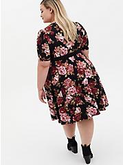 Black Floral Studio Knit Belted Skater Dress, FLORAL - BLACK, alternate