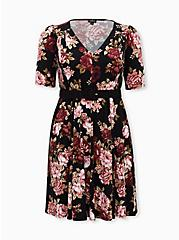Black Floral Studio Knit Belted Skater Dress, FLORAL - BLACK, hi-res