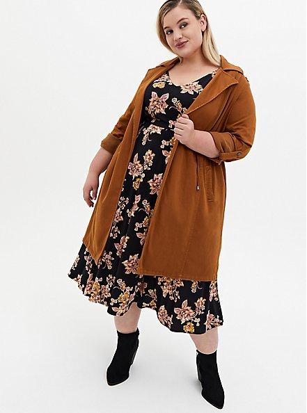 Black Floral Studio Knit Skater Midi Dress, FLORAL - BLACK, alternate
