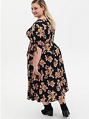 Black Floral Studio Knit Skater Midi Dress, FLORAL - BLACK, alternate
