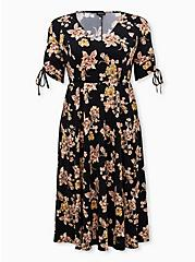Black Floral Studio Knit Skater Midi Dress, FLORAL - BLACK, hi-res