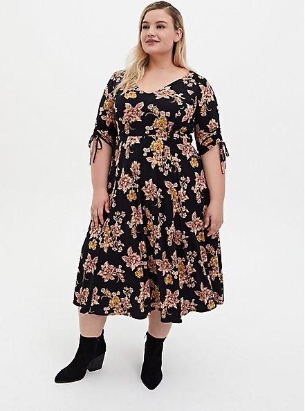 Black Floral Studio Knit Skater Midi Dress, FLORAL - BLACK, hi-res