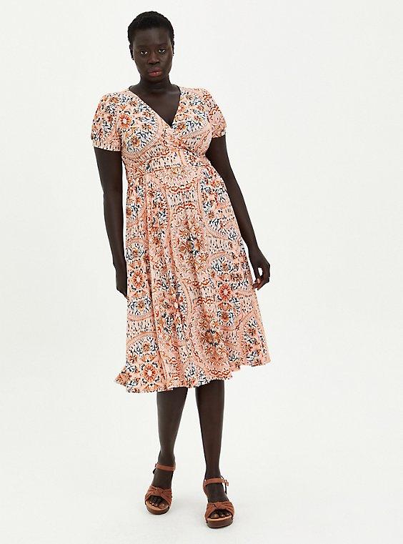 Peach Medallion Studio Knit Puff Sleeve Skater Midi Dress, MEDALLION FLORAL, hi-res