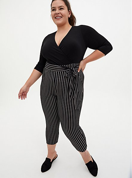 Black Striped Studio Knit Surplice Jumpsuit, STRIPE-BLACK, alternate