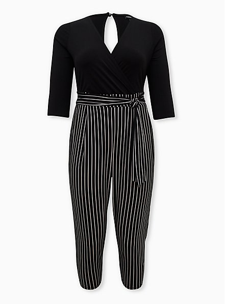 Black Striped Studio Knit Surplice Jumpsuit, STRIPE-BLACK, hi-res