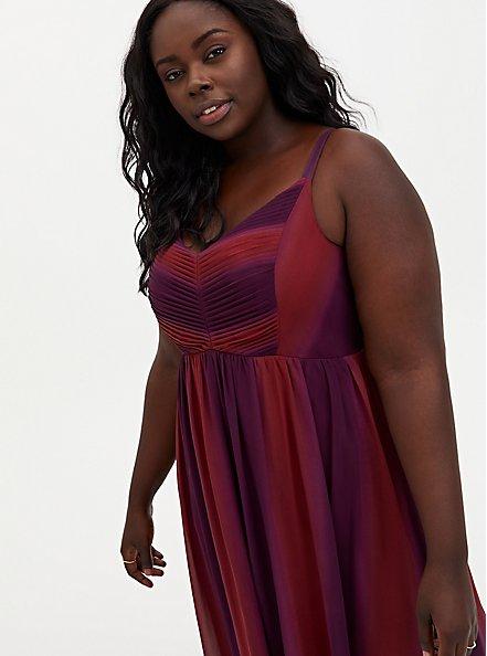 Burgundy Red Ombre Chiffon Maxi Dress, BURGUNDY, alternate