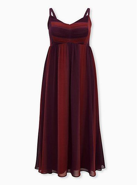 Burgundy Red Ombre Chiffon Maxi Dress, BURGUNDY, hi-res