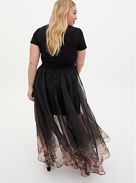Black Floral Scuba Organza Convertible Skater Dress, FLORAL - BLACK, alternate