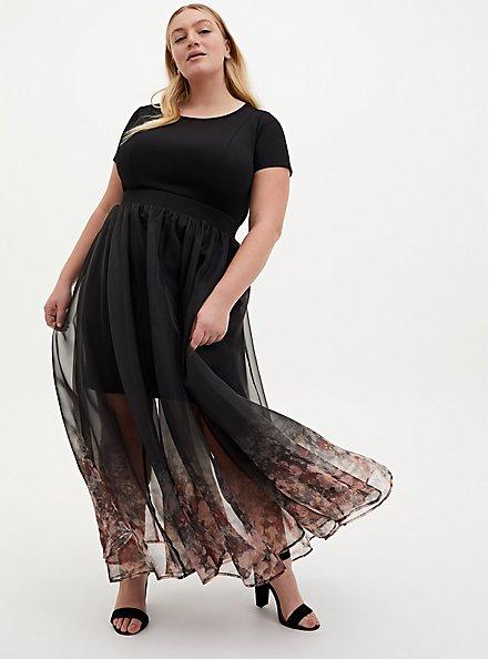 Black Floral Scuba Organza Convertible Skater Dress, FLORAL - BLACK, hi-res