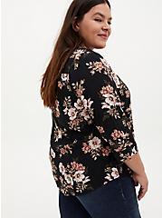 Harper - Black Floral Twill Pullover Blouse, FLORAL - BLACK, alternate