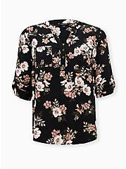 Harper - Black Floral Twill Pullover Blouse, FLORAL - BLACK, hi-res