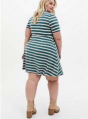 Super Soft Green Stripe Polo Skater Dress, STRIPE - GREEN, alternate
