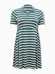 Super Soft Green Stripe Polo Skater Dress, STRIPE - GREEN, hi-res