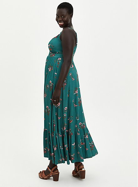 Super Soft Green Floral Tiered Maxi Dress, FLORAL - GREEN, alternate