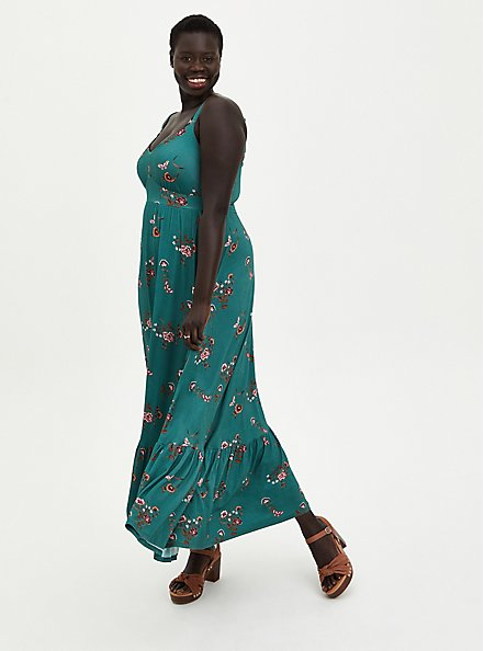 Super Soft Green Floral Tiered Maxi Dress, FLORAL - GREEN, hi-res