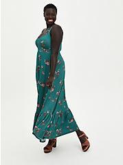 Super Soft Pine Green Floral Tiered Maxi Dress, FLORAL - GREEN, hi-res