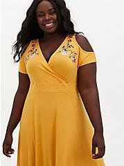 Super Soft Golden Yellow Floral Cold Shoulder Maxi Dress, GOLD, alternate
