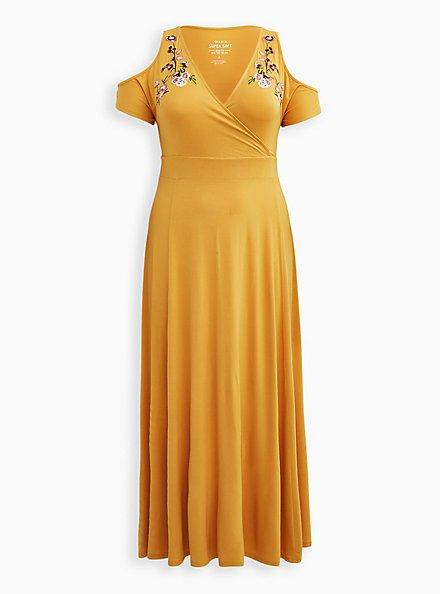 Super Soft Golden Yellow Floral Cold Shoulder Maxi Dress, GOLD, hi-res