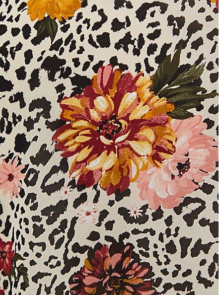 Light Stone Grey Leopard Floral Chiffon Midi Dress, LEOPARD FLORAL TAN BEIGE, alternate