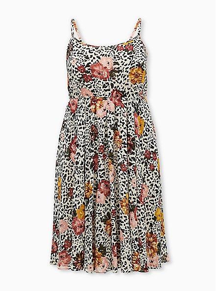 Light Stone Grey Leopard Floral Chiffon Midi Dress, LEOPARD FLORAL TAN BEIGE, hi-res