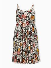Light Stone Grey Leopard Floral Chiffon Midi Dress, LEOPARD FLORAL TAN BEIGE, hi-res