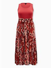 Dusty Rose Knit to Woven Maxi Dress, SCARF - PINK, hi-res