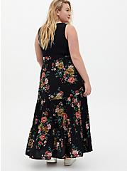 Black Floral Knit to Woven Maxi Dress, FLORAL - BLACK, alternate