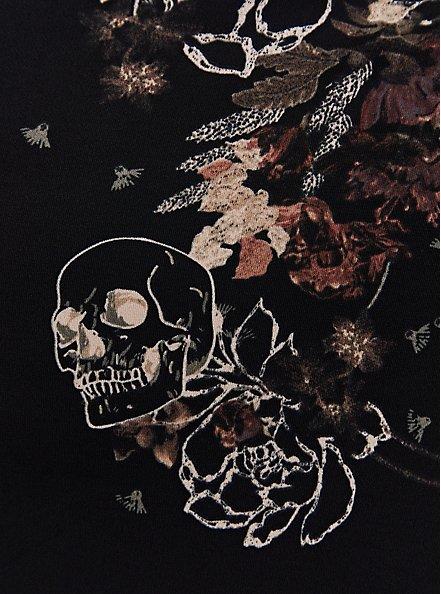 Black Floral Studio Knit High Neck Skater Dress, FLORAL - BLACK, alternate
