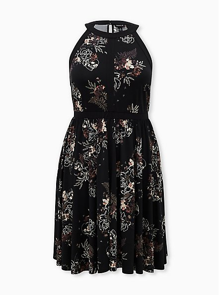 Black Floral Studio Knit High Neck Skater Dress, FLORAL - BLACK, hi-res