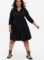 Black Studio Knit A-Line Shirt Dress, DEEP BLACK, alternate