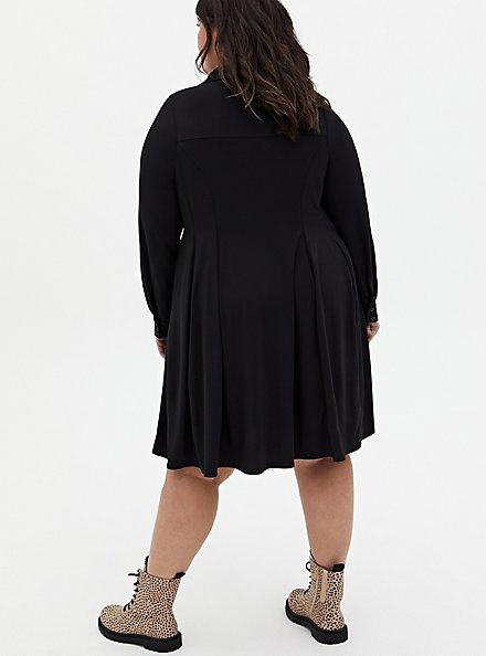Black Studio Knit A-Line Shirt Dress, DEEP BLACK, alternate