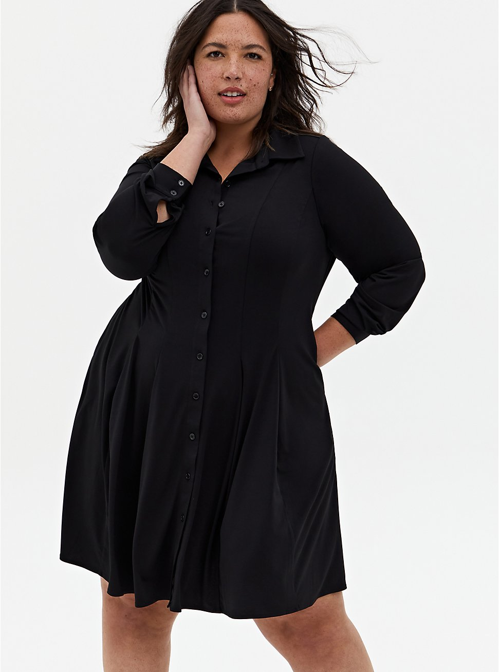 Black Studio Knit A-Line Shirt Dress, DEEP BLACK, hi-res