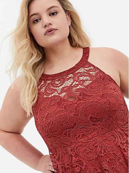 Marsala Red Lace Sweetheart Neck Skater Dress, MARSALA, alternate