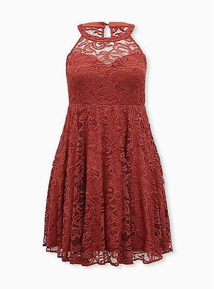 Marsala Red Lace Sweetheart Neck Skater Dress, MARSALA, hi-res