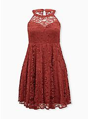 Marsala Red Lace Sweetheart Neck Skater Dress, MARSALA, hi-res