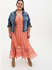 Coral Lace Button Front Maxi Skater Dress, CORAL, alternate