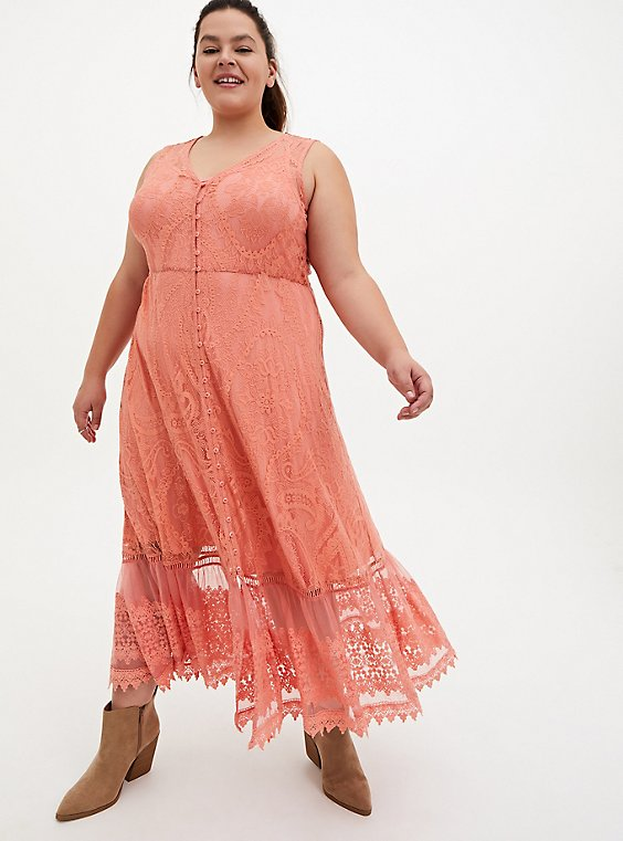 Coral Lace Button Front Maxi Skater Dress, CORAL, hi-res