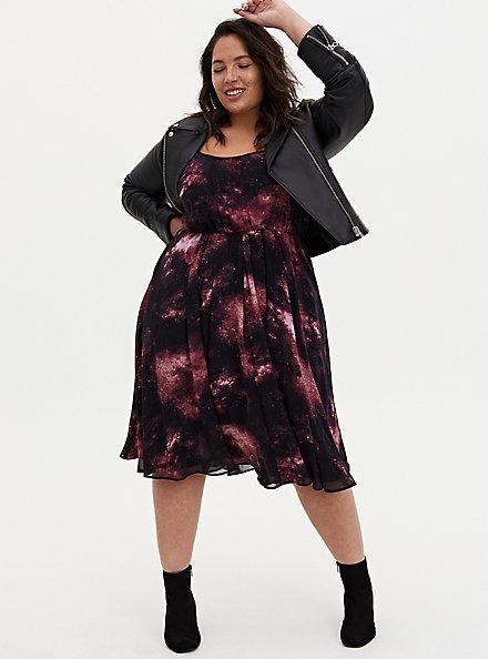 Black Galaxy Chiffon Midi Dress, GALAXY, alternate
