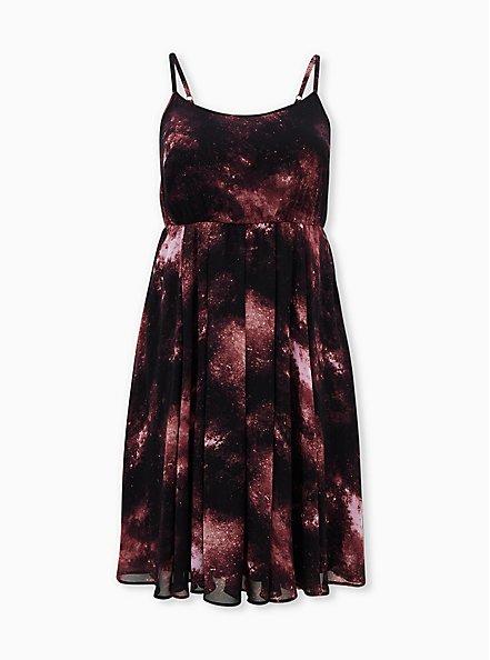 Black Galaxy Chiffon Midi Dress, GALAXY, hi-res