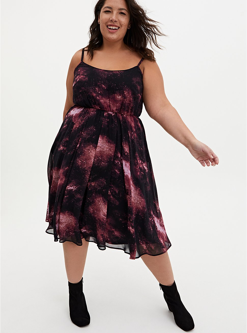 Black Galaxy Chiffon Midi Dress, GALAXY, hi-res