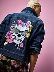 Betsey Johnson Skull Denim Trucker Jacket - Dark Wash , DENIM, hi-res