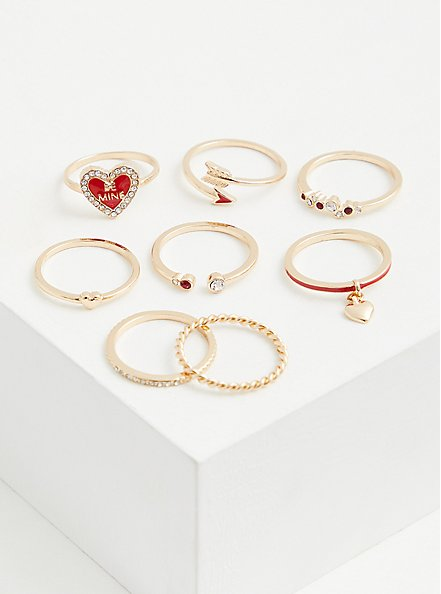 Plus Size  Gold-Tone & Red Heart Be Mine Ring Set - Set Of 8, RED, alternate
