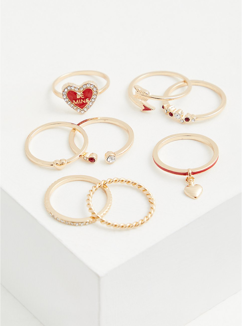 Gold-Tone & Red Heart Be Mine Ring Set - Set Of 8, RED, hi-res
