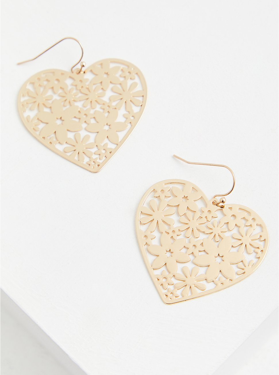 Gold-Tone Filigree Heart Statement Earrings, , hi-res