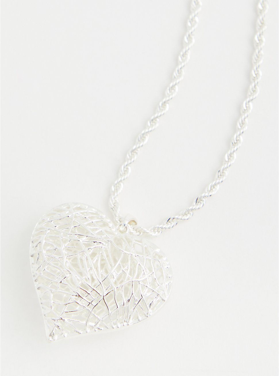 Silver-Tone Caged Heart Necklace, , hi-res