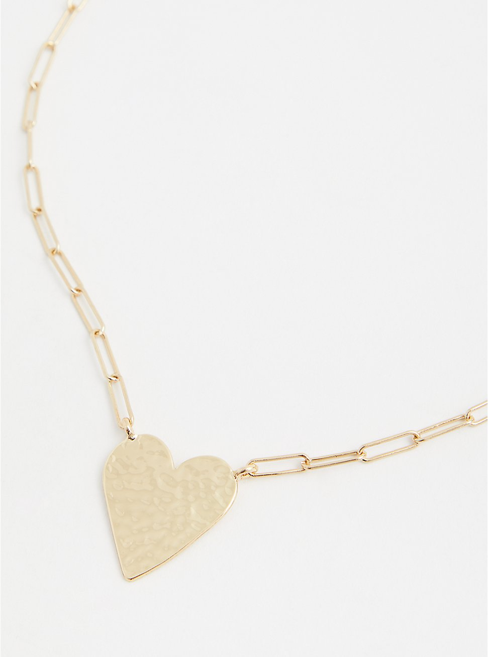 Gold-Tone Link Heart Necklace , , hi-res