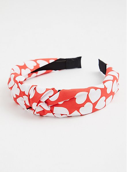 Red & White Heart Knot Headband, , alternate