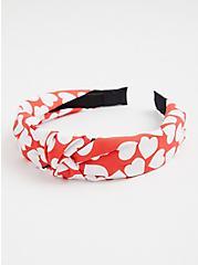 Red & White Heart Knot Headband, , alternate